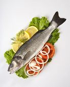 stock photo of bass fish  - Freshly Bass Fish with vegetables - JPG