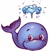 Vector illustration of whale in cartoon style