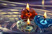 Colorful Three Candles Floating On Water Aroma Bowl,retro