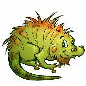 Vector illustration of iguana in cartoon style