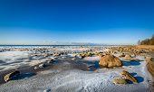 Icy shore landscape