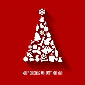 Vector christmas tree made from various shapes (white and red version)