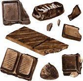 set of chocolates drawing by watercolor