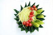 Prepare Set For Papaya Salad On White Background