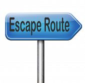 escape route avoid stress and break free running away to safety no rat race road sign arrow