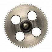 Machine gear, metal cogwheel. Isolated on white.