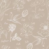 Hand Drawing Seamless Pattern Of Flowers. Iris, Calla Lily, Tulip, Orchid, Sunflower And Rose 2