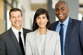 stock photo of multicultural  - portrait of multicultural business executive in office - JPG