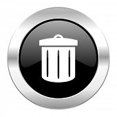 recycle black circle glossy chrome icon isolated