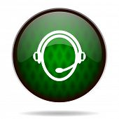 customer service green internet icon