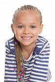 Closeup portrait of a little girl. Girl six years.