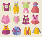 Set With Collection Of Children's Clothing  - Illustration