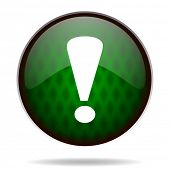 exclamation sign green internet icon