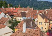 Rooftops in Sighisoara, Romania.