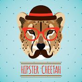 picture of moustache  - Animal cheetah with hat glasses and moustache hipster portrait vector illustration - JPG