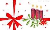 New Year Card with Mistletoe and Candles