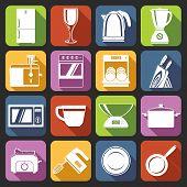 Kitchen appliances icons white