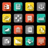Finance icons set flat