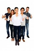 Cheerful group of people with thumbs up isolated on a white