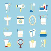 stock photo of toothpaste  - Bathroom icons colored set with toothpaste and brush hairdryer isolated vector illustration - JPG