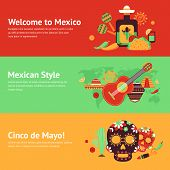stock photo of food pyramid  - Mexico style travel music and food symbols banner set isolated vector illustration - JPG