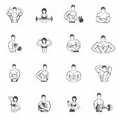 stock photo of muscle builder  - Bodybuilding fitness gym icons black set with male and female athletes silhouettes isolated vector illustration - JPG