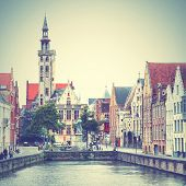 View of Bruges, Belgium. Instagram style filtred image