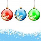 Christmas Balls on holidays background. illustration.