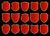 red shields with golden border; set with various shapes