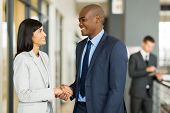professional indian businesswoman handshaking with african businessman