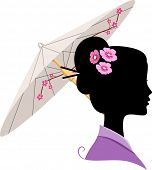 Illustration Featuring the Silhouette of a Japanese Woman