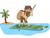 picture of raft  - Illustration Featuring a Male Castaway Maneuvering a Bamboo Raft - JPG