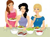 Illustration Featuring a Group of Women Having a Salad Party
