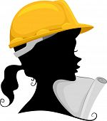 Illustration Featuring the Silhouette of a Female Engineer