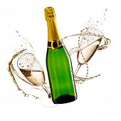 Two glasses of champagne and bottle with splash, isolated on white background