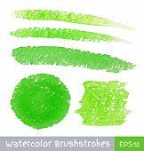 Set of Green Watercolor Brush Strokes