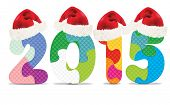 2015 made from alphabet puzzle with christmas hats - vector illustration