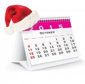 October 2015 desk calendar with Christmas hat - vector illustration