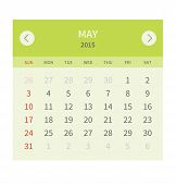 Calendar monthly may 2015 in flat design