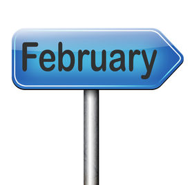 stock photo of february  - February cold next winter month schedule and calender
