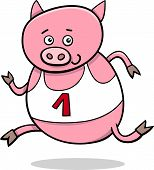 picture of physical education  - Cartoon Illustration of Funny Pig Animal Character Running on Physical Education Lesson - JPG