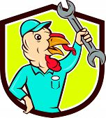 image of clutch  - Illustration of a wild turkey mechanic holding clutching spanner set inside shield crest done in cartoon style on isolated background - JPG