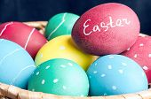 picture of egg  - Easter eggs lying in a basket - JPG
