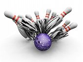 stock photo of bowling ball  - 3D render of a bowling ball smashing into the skittles - JPG