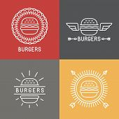 picture of food logo  - Vector burger logo design elements in linear style  - JPG