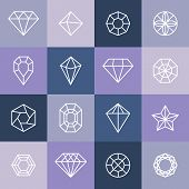 foto of gem  - Vector diamonds and gems linear icons and logo design elements - JPG