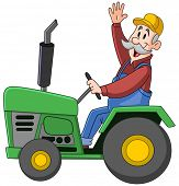 stock photo of waving hands  - Smiling farmer driving a tractor and waving hello - JPG