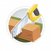 stock photo of cutting board  - Hacksaw cut board - JPG