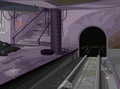 pic of creepy  - Creepy Illustration of a Dark and Abandoned Subway Station - JPG