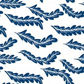 picture of indigo  - Abstract feathers seamless indigo pattern - JPG